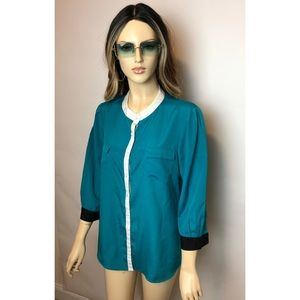 Banana Republic Teal Green White Trim Blouse